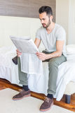 Man with Newspaper Royalty Free Stock Photos