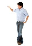 Man next to an imaginary object Royalty Free Stock Photography