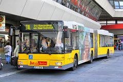 MAN A23 NG313. BERLIN, GERMANY - SEPTEMBER 9, 2013: Yellow MAN A23 NG313 articulated city bus at the city street Stock Images