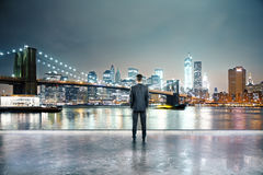 Man in night city Stock Photo