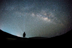 Man at night sky milky way and stars background stock images