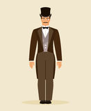The man of the nineteenth century. Vector Illustration Royalty Free Stock Image