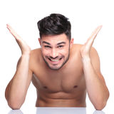Man with no clothes on screaming of joy Royalty Free Stock Photos