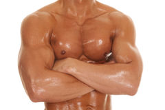 Man no shirt arms folded body strong Stock Images