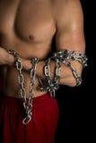 Man no shirt black background chain on arm close Stock Photo