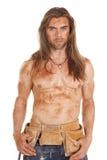 Man no shirt dirty tool belt Royalty Free Stock Image