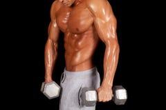 Man no shirt shiny body hold weights Royalty Free Stock Photos