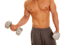 Man no shirt weights curl one showing body Stock Images