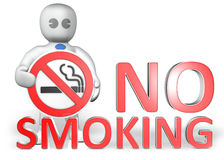 A man with a no smoking warning. Badge, behind the big 3D title Stock Photo