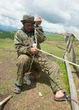 Man nomad weaving rope Royalty Free Stock Photos