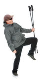 Man with Nordic walking poles Royalty Free Stock Photography