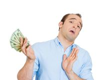 Man not accepting bribery Stock Images