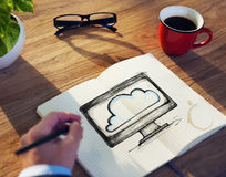Man with Note Pad and Cloud Computing Concept Royalty Free Stock Photography
