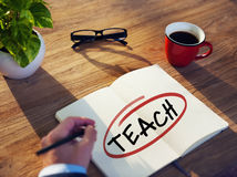 Man with Note Pad and Teach Concepts Stock Images