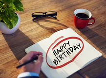 Man with Note Pad and Text Happy Birthday Stock Images