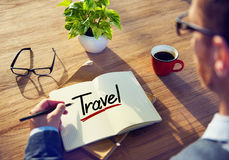 Man with a Note and a Single Word Travel Stock Photo