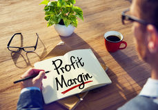 Man with a Note and a Word Profit Margin Royalty Free Stock Photography