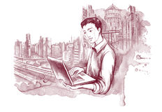 Man with notebook. Young man with notebook on background of city scape Royalty Free Stock Images