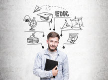 Man with notebook and education sketch Stock Photo
