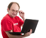 Man with notebook on white background. Stock Image