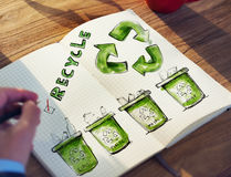 Man with a Notepad with Recycling Concept Stock Photography
