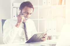Man with a notepad shouting Royalty Free Stock Image