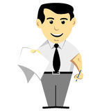 Man With Notepad. Young man in tie holding a notepad and pencil Vector Illustration