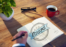 Man with a Notepaper with Brand Concept.  stock images