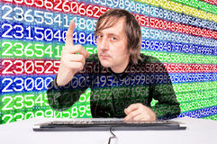 Man and numbers Royalty Free Stock Photos