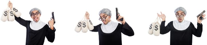 The man in nun dress with handgun and moneybags. Man in nun dress with handgun and moneybags stock images