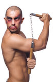 Man with nunchucks Stock Image