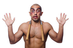 Man with nunchucks Stock Images