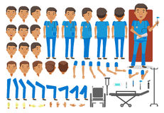 Man nurse. Character creation set. Icons with different types of faces and hair style, emotions, front,rear,side view of male person. Moving arms, legs. Vector stock illustration