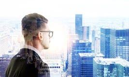 Man on NY background multiexposure Stock Photos