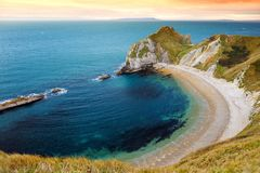 Man O`War Cove on the Dorset coast in southern England, between the headlands of Durdle Door to the west and Man O War Head to th. E east, Dorset, England Royalty Free Stock Photos