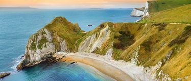 Man O`War Cove on the Dorset coast in southern England, between the headlands of Durdle Door to the west and Man O War Head to th. E east, Dorset, England Royalty Free Stock Photo