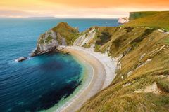 Man O`War Cove on the Dorset coast in southern England, between the headlands of Durdle Door to the west and Man O War Head to th. E east, Dorset, England Royalty Free Stock Photography