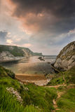 Man o War cove in Jurassic coast at sunrise Royalty Free Stock Photography