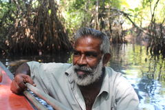 The man with an oar. Portrait. Stock Images