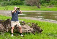 Man observing nature with binoculars Royalty Free Stock Image