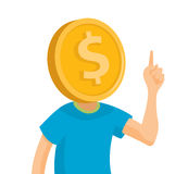 Man obsessed about money with coin head Royalty Free Stock Image
