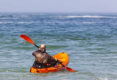 MAN IN THE OCEAN ON KAYAK royalty free stock images
