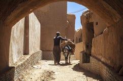 Man och åsna i den Kharanagh byn, Iran Royaltyfri Bild