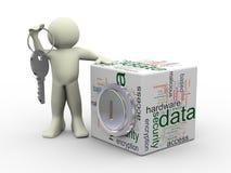 Man och begrepp för dataskydd Arkivfoto