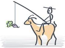 Man och en häst vektor illustrationer