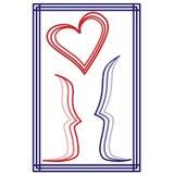 man och en kvinna som är förälskad tillsammans på en vykort stock illustrationer