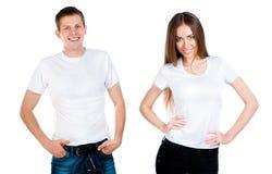 Man och flicka i vitT-tröja arkivbild
