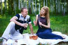 Man och flicka som dricker alkohol på picknicken Royaltyfria Foton