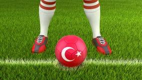 Man och fotbollboll med den turkiska flaggan vektor illustrationer