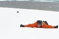 Man och gentoopingvin i snö Arkivfoton